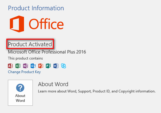 Activate Office 2016 without a product key